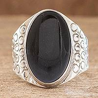 Men's jade ring, 'At Midnight' - Men's jade ring