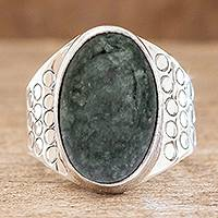 Men's jade ring, 'Verdant Night'