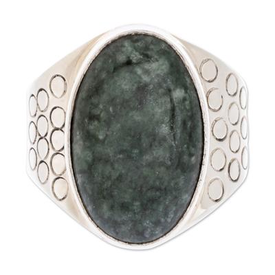 Men's jade ring, 'Verdant Night' - Men's Modern Sterling Silver Single Stone Jade Ring