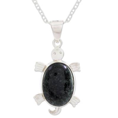 Jade pendant necklace, 'Dark Marine Turtle' - Jade pendant necklace