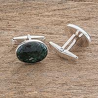 Men's jade cufflinks, 'Royal Green'