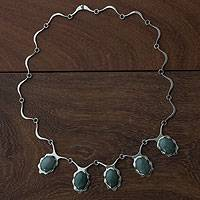 Jade pendant necklace, 'Flowing Beauty' - Jade and Sterling Silver Necklace Handmade Jewelry