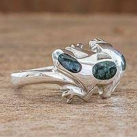 Jade ring, 'Scurrying Lizard' - Women's Jade Ring Sterling Silver Artisan Jewelry