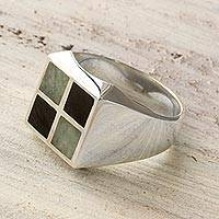 Men's jade ring, 'Royal Maya' - Jade Inlay Modern Men's Ring