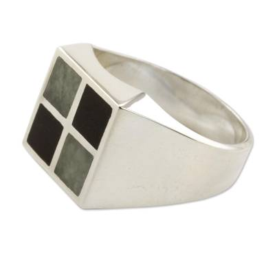 Men's jade ring, 'Royal Maya' - Artisan Crafted Jade Inlay Modern Men's Ring