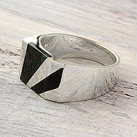 Men's jade ring, 'Lord of the Night' - Artisan Crafted Dark Green Jade Inlay Modern Men's Ring