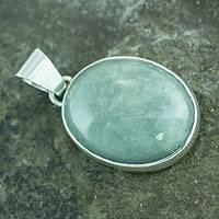 Jade pendant, 'Summer Moon' - Central America Artisan Crafted Silver and Oval Jade Pendant