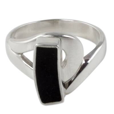 Jade cocktail ring, 'Nocturnal Elegance' - Black Jade on Sterling Silver Cocktail Ring from Guatemala