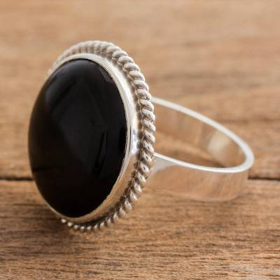 Black jade cocktail ring, 'Mystery of the Night' - Hand Crafted Black Jade Ring