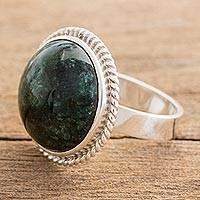 Jade cocktail ring, 'Green Mystery'