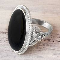 Black jade cocktail ring, 'Black Floral Embrace' - Hand Crafted Floral Black Jade Ring