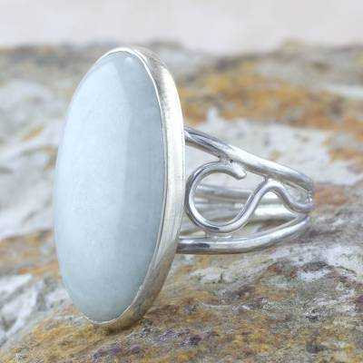 Jade cocktail ring, 'Verdant Whisper' - Pale Green Jade Cocktail Ring