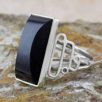 Black jade cocktail ring, 'Night Ballet' - Black Jade Cocktail Ring