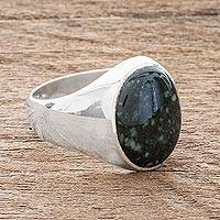 Men's jade ring, 'Royal Green'