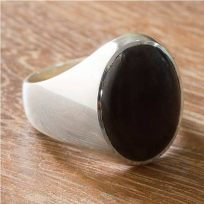 Men's black jade ring, 'Royal Treasure' - Men's Black Jade Signet Ring