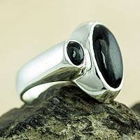 Jade cocktail ring, 'Night Cosmos' - Artisan Crafted Black Jade and Silver Cocktail Ring