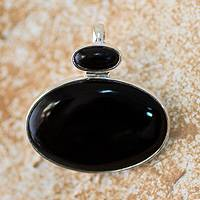Jade pendant, 'Night Cosmos' - Artisan Crafted Black Jade and Silver Pendant
