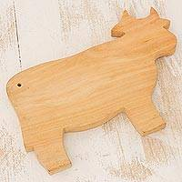 Wood cutting board, 'Happy Cow'