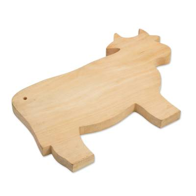 Wood cutting board, 'Happy Cow' - Hand Carved Wood Cutting Board