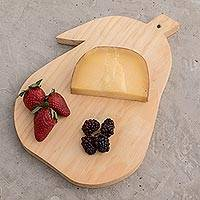 Wood cutting board, 'Grandma's Pear' -  Hand-carved Natural Wood Chopping Board