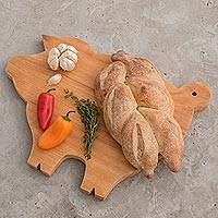Wood cutting board, 'Happy Pig' - Hand Carved Natural Wood Chopping Board