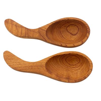 Cedar serving spoons, 'Rain Forest' (pair) - Cedar serving spoons (Pair)
