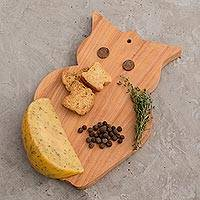 Wood cutting board, 'Midnight Owl' - Fair Trade Wood Cutting Board Hand Carved
