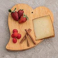 Wood cutting board, 'Grandma's Big Heart' - Fair Trade Natural Wood Chopping Board Hand-carved