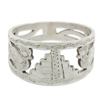 Sterling silver ring, 'Quetzales of Tikal' - Sterling Silver Band Ring with Quetzal Birds and Maya Temple