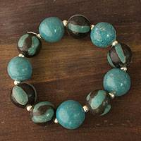 Ceramic stretch bracelet, 'Azacualpa Turquoise' - Ceramic stretch bracelet