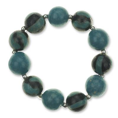 Unique Turquoise Colored Ceramic Beaded Chunky Stretch Bracelet