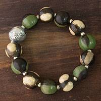 Ceramic stretch bracelet, 'Azacualpa Rainforest' - Central American Ceramic Beaded Bracelet