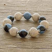 Ceramic stretch bracelet, 'Azacualpa Paradise' - Ceramic stretch bracelet