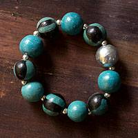 Ceramic stretch bracelet, 'Lenca Moon' - Ceramic stretch bracelet