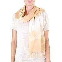 Cotton scarf, 'Subtle Orange' - Orange Tie Dye Cotton Scarf from Guatemala