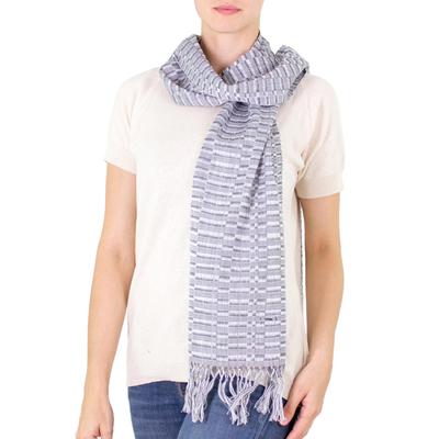 Cotton scarf, 'Antigua Mist' - Handwoven grey and White Cotton Scarf