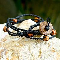 Ceramic beaded wrap bracelet, 'Zen'