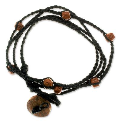Ceramic beaded wrap bracelet, 'Zen' - Ceramic beaded wrap bracelet