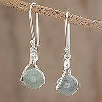 Jade dangle earrings, 'Pale Maya World' - Unique Modern Sterling Silver Dangle Jade Earrings