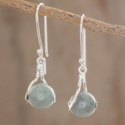 Jade dangle earrings, 'Pale Maya World' - Unique Modern Sterling Silver Dangle Jade Earrings