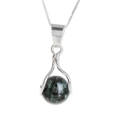 Jade pendant necklace, 'Dark Maya World' - Hand Made Modern Sterling Silver Pendant Jade Necklace