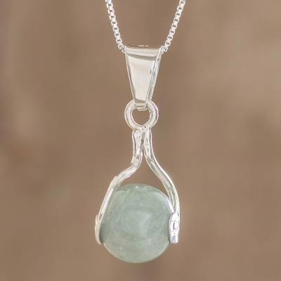 Jade pendant necklace, 'Pale Maya World' - Jade pendant necklace