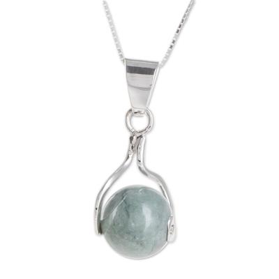 Jade pendant necklace, 'Pale Maya World' - Jade pendant necklace