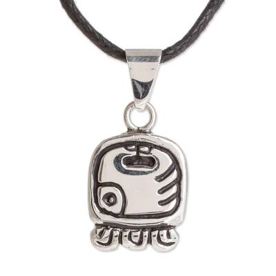 Sterling silver pendant necklace, 'Energy Nahual' - Nahual Sterling Silver Pendant Necklace