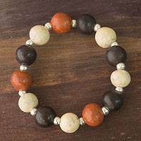 Ceramic stretch bracelet, 'Azacualpa Warmth' - Ceramic stretch bracelet
