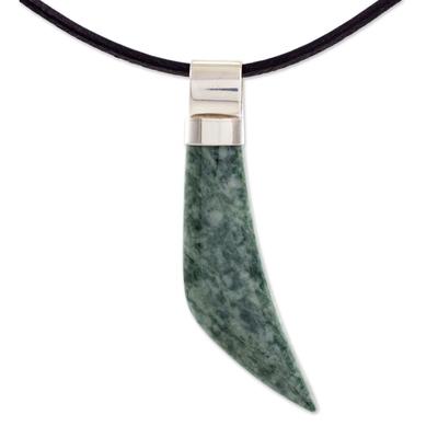 Men's light green jade pendant necklace, 'Jaguar Fang' - Men's light green jade pendant necklace