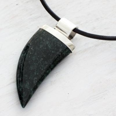 Men's dark green jade pendant necklace, ' Wide Jaguar Fang' - Men's dark green jade pendant necklace