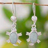 Light green jade dangle earrings, 'Marine Turtles'