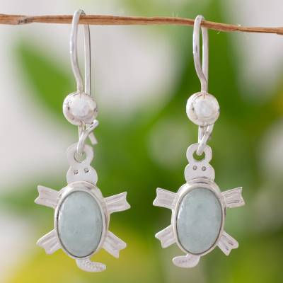 Light green jade dangle earrings, 'Marine Turtles' - Light green jade dangle earrings