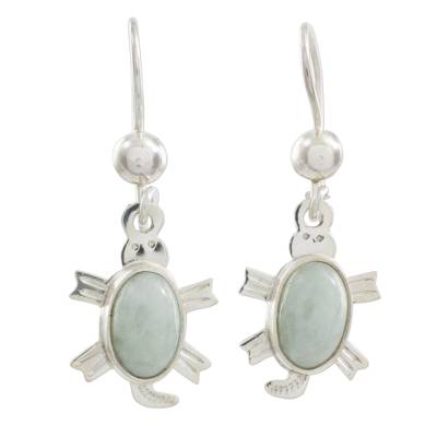 Light green jade dangle earrings